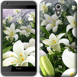 Чехол на HTC Desire 620G Белые лилии