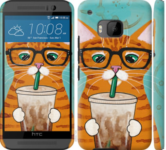 Чехол на HTC One M9 Зеленоглазый кот в очках