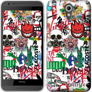 Чехол на HTC Desire 620G Many different logos