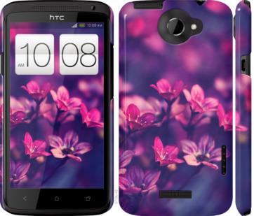 Чехол на HTC One X Пурпурные цветы