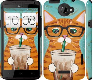 Чехол на HTC One X Зеленоглазый кот в очках