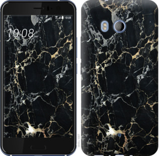 Чехол на HTC U11 Черный мрамор