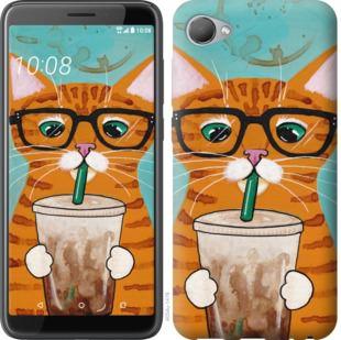 Чехол на HTC Desire 12 Зеленоглазый кот в очках