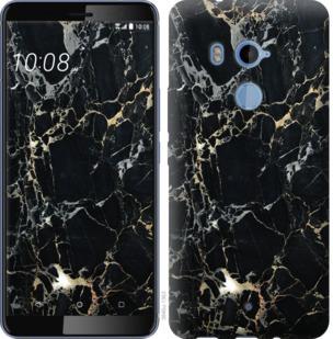 Чехол на HTC U11 Plus Черный мрамор