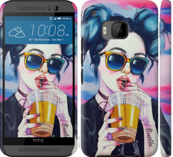 Чехол на HTC One M9 Арт-девушка в очках