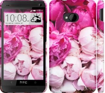 Чехол на HTC One M7 Розовые пионы