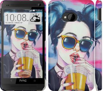 Чехол на HTC One M7 Арт-девушка в очках