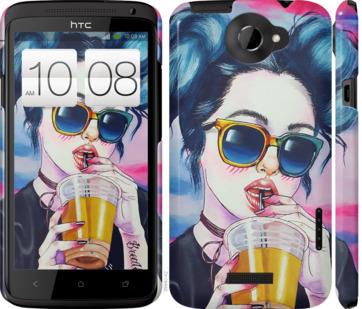 Чехол на HTC One X Арт-девушка в очках