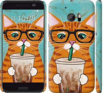 Чехол на HTC 10 Зеленоглазый кот в очках