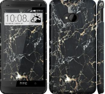 Чехол на HTC One M7 Черный мрамор