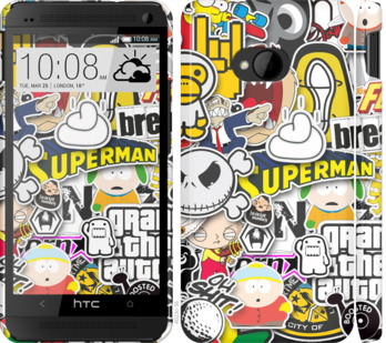 Чехол на HTC One M7 Popular logos