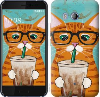 Чехол на HTC U11 Зеленоглазый кот в очках