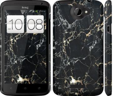 Чехол на HTC One X Черный мрамор