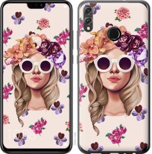 Чехол на Huawei Honor 8X Девушка с цветами v2