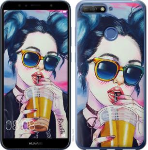 Чехол на Huawei Y6 Prime 2018 Арт-девушка в очках