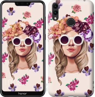 Чехол на Huawei Honor 8C Девушка с цветами v2