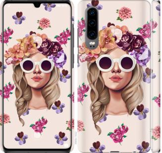 Чехол на Huawei P30 Девушка с цветами v2