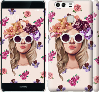 Чехол на Huawei P9 Девушка с цветами v2