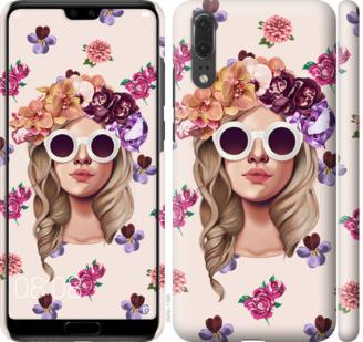 Чехол на Huawei P20 Девушка с цветами v2