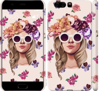 Чехол на Huawei P10 Девушка с цветами v2