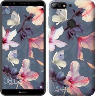 Чехол на Huawei Y7 Prime 2018 Нарисованные цветы