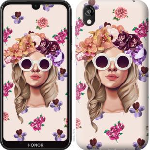 Чехол на Huawei Honor 8S Девушка с цветами v2