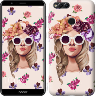 Чехол на Huawei Honor 7X Девушка с цветами v2