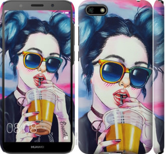 Чехол на Huawei Y5 2018 Арт-девушка в очках