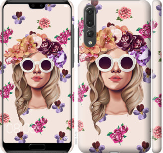Чехол на Huawei P20 Pro Девушка с цветами v2