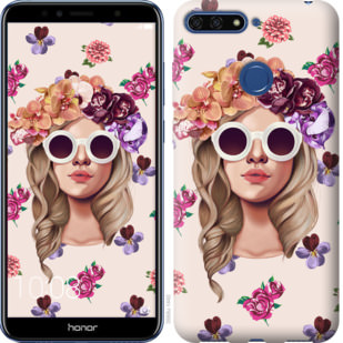 Чехол на Huawei Honor 7A Pro Девушка с цветами v2