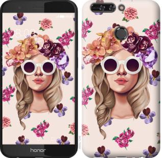 Чехол на Huawei Honor V9 / Honor 8 Pro Девушка с цветами v2