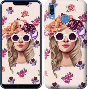 Чехол на Huawei Honor Play Девушка с цветами v2