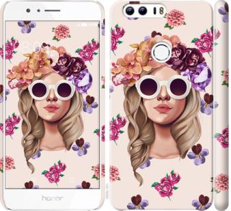 Чехол на Huawei Honor 8 Девушка с цветами v2