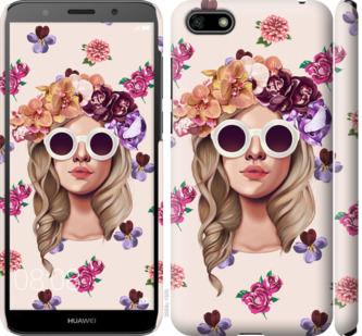 Чехол на Huawei Y5 2018 Девушка с цветами v2
