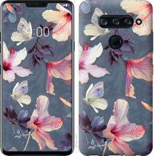 Чехол на LG V40 ThinQ Нарисованные цветы