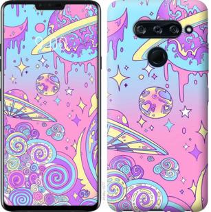 Чехол на LG V40 ThinQ Розовая галактика