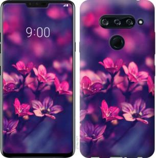Чехол на LG V40 ThinQ Пурпурные цветы