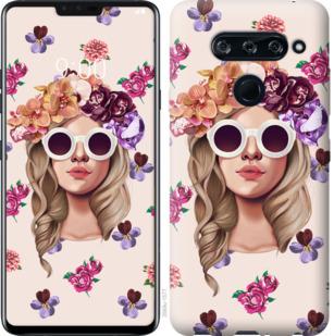 Чехол на LG V40 ThinQ Девушка с цветами v2