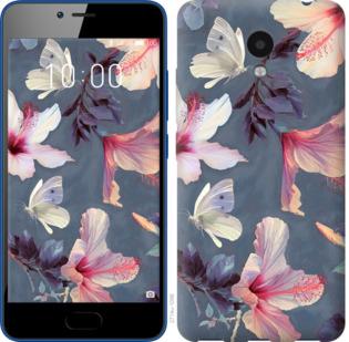 Чехол на Meizu M5c Нарисованные цветы
