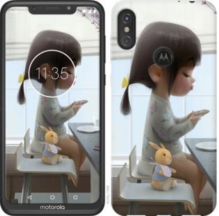 Чехол на Motorola One Power Милая девочка с зайчиком