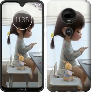 Чехол на Motorola Moto G7 Милая девочка с зайчиком