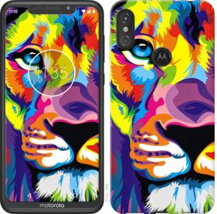 Чехол на Motorola One Power Разноцветный лев