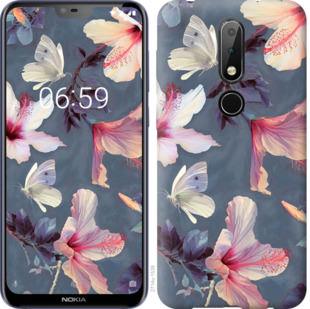 Чехол на Nokia 6.1 Plus Нарисованные цветы
