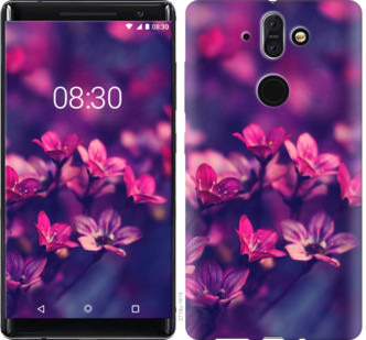 Чехол на Nokia 8 Sirocco Пурпурные цветы