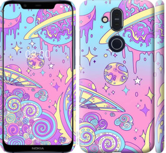 Чехол на Nokia 8.1 Розовая галактика