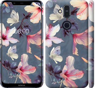 Чехол на Nokia 8.1 Нарисованные цветы