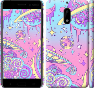Чехол на Nokia 6 Розовая галактика