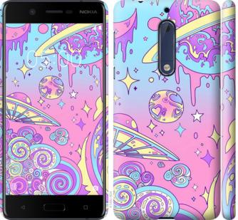 Чехол на Nokia 5 Розовая галактика