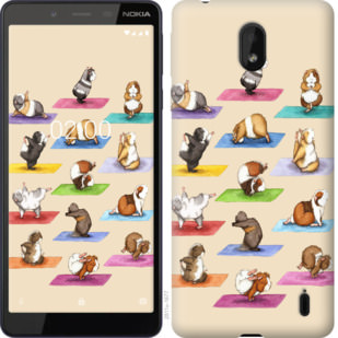 Чехол на Nokia 1 Plus Йога морских свинок