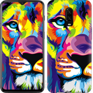 Чехол на OnePlus 6T Разноцветный лев